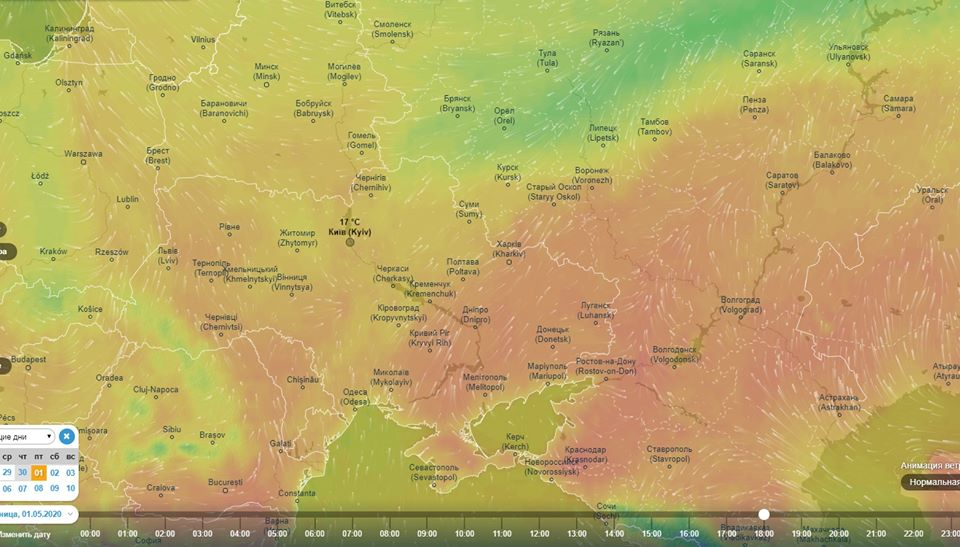 Карта темератур