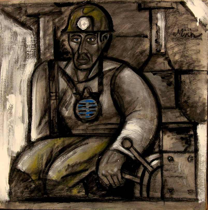 Картины Романа Минина Шахтёр в кабине