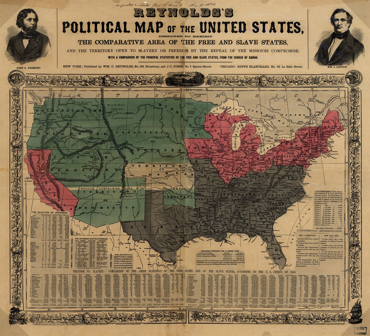 Политическая карта Соединенных Штатов Америки США в 1856 году штаты с рабством и штаты свободные
