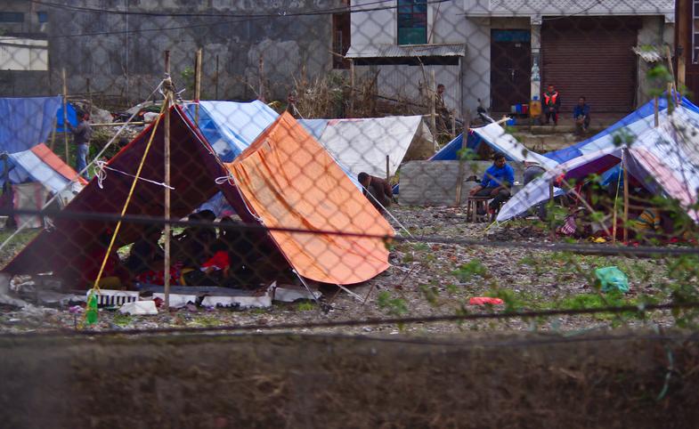 Один из многих палаточных лагерей