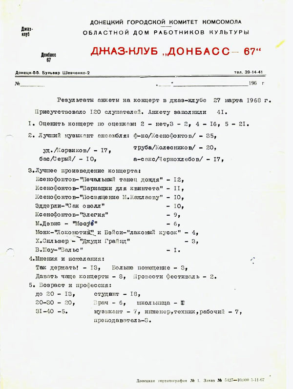 Анкета донецкого джаз клуба 1967