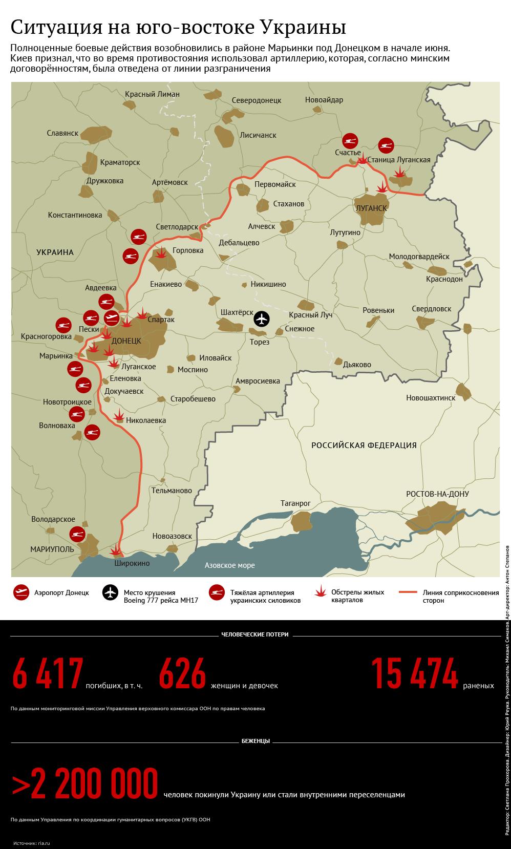 Карта боевых действий от РИА Новости