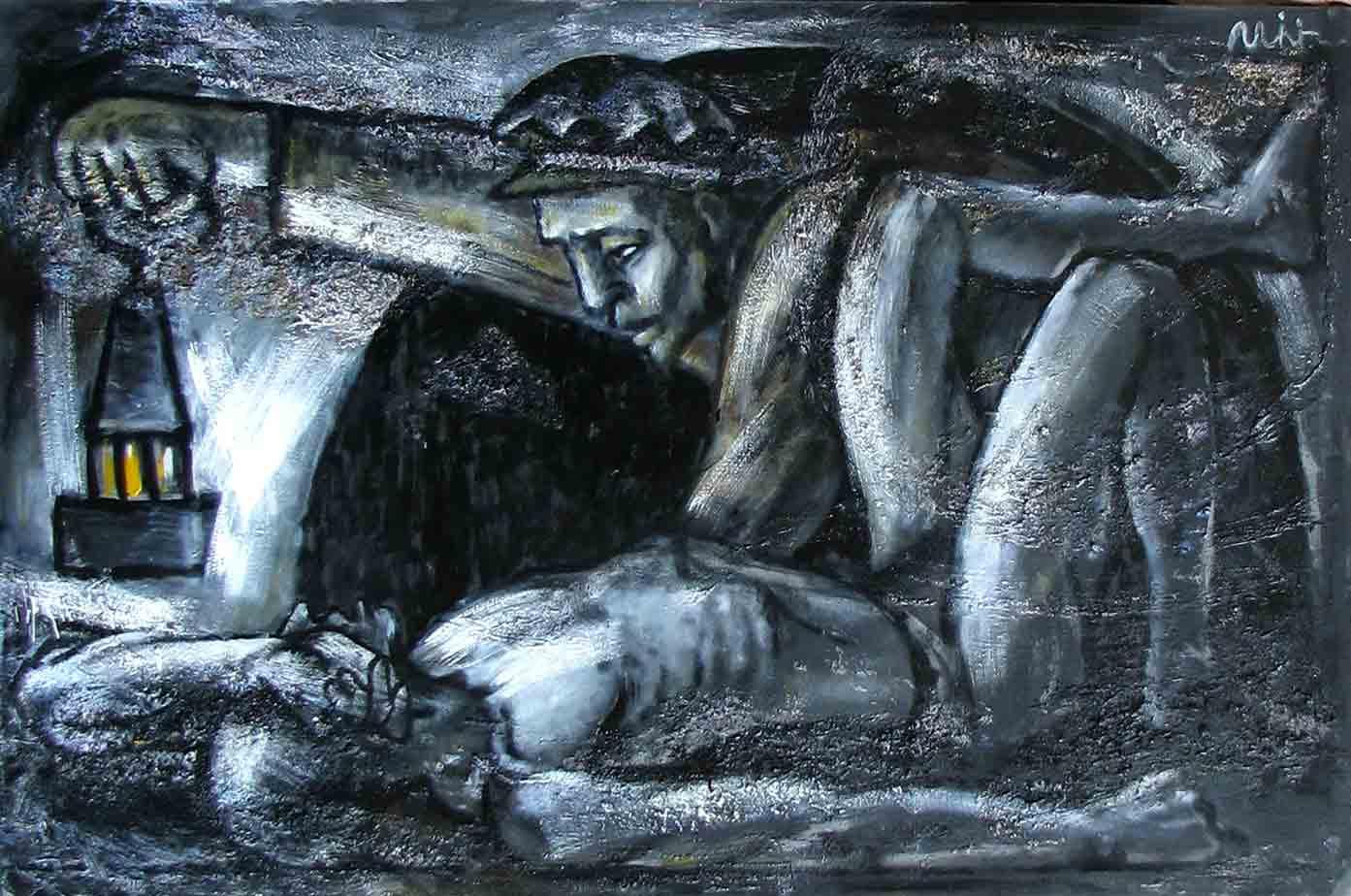 Картины Романа Минина Смерть шахтёра