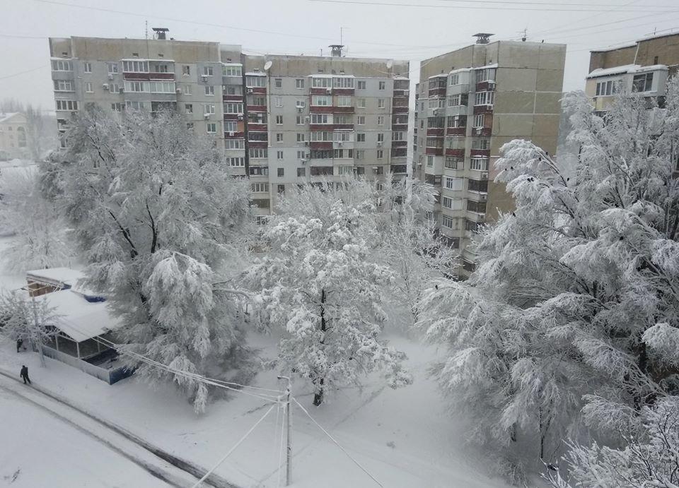 Сказочное снежное утро в Донецке на фото Сергея Голохи