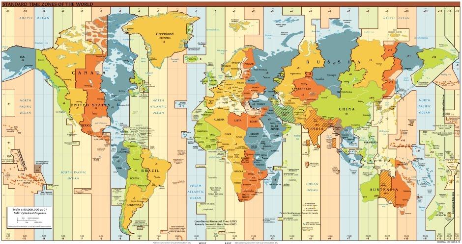 Часовые пояса в мире